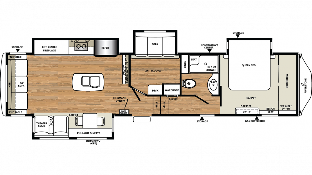 2019 RiverStone 37REL Floor Plan Img