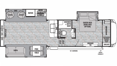 2020 Cedar Creek Silverback 29RE Floor Plan Img