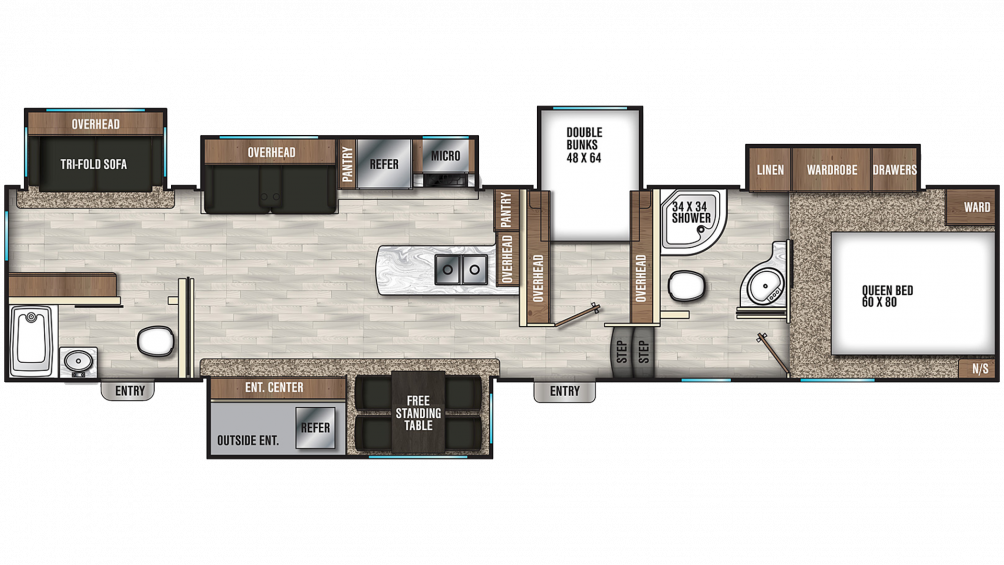 2020 Chaparral 373MBRB Floor Plan Img