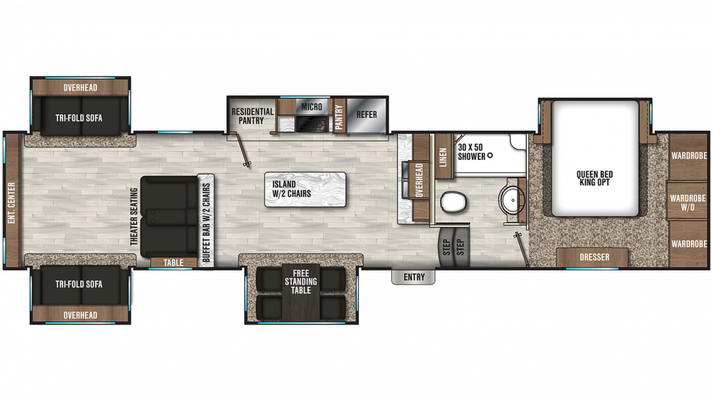 2020 Chaparral 381RD Floor Plan Img