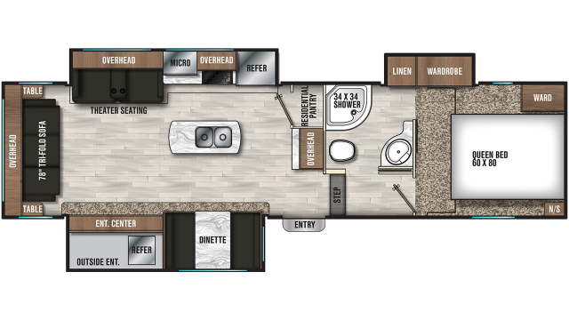 2020 Chaparral Lite 285RLS Floor Plan