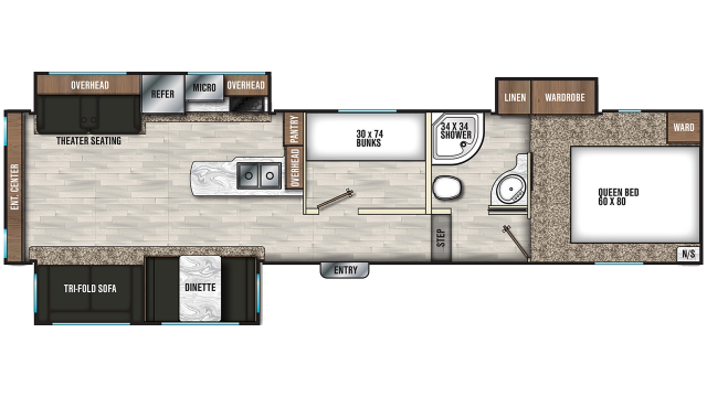 2020 Chaparral Lite 30BHS Floor Plan