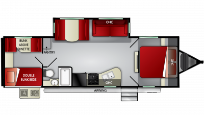 2020 Fun Finder Xtreme Lite 28QD Floor Plan Img