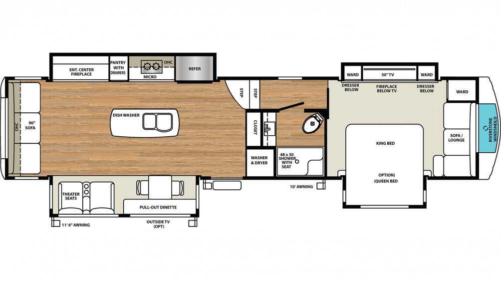 2020 RiverStone 39RLW Floor Plan Img