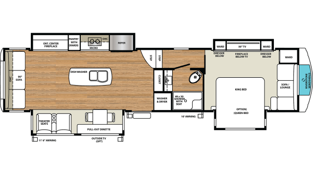 2020 RiverStone 39RLW Floor Plan