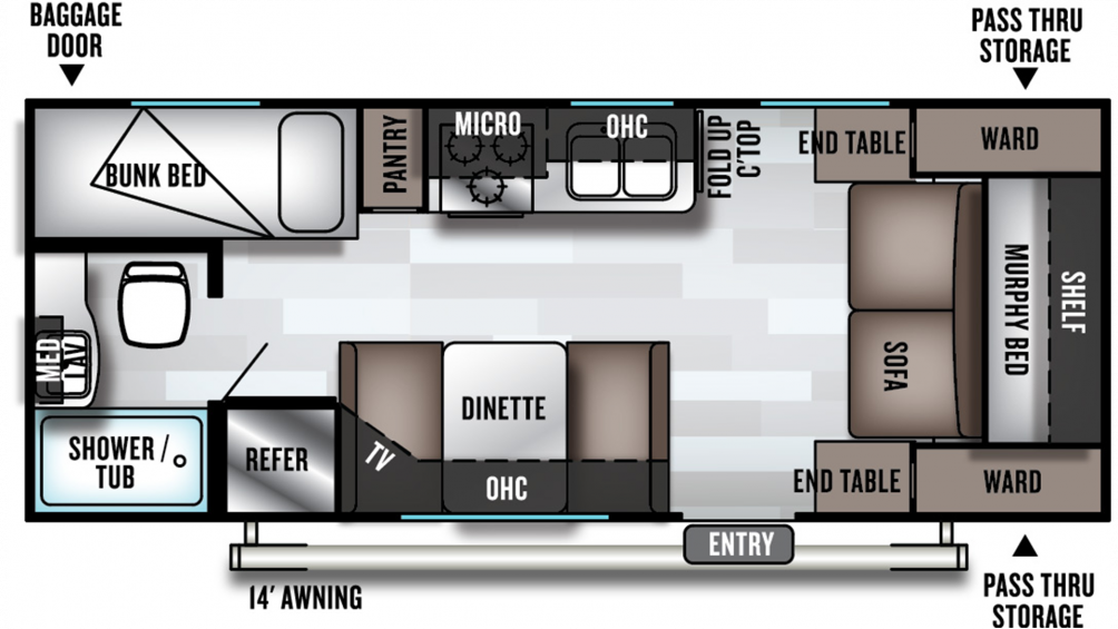 2020 Salem Cruise Lite 201BHXL Floor Plan Img