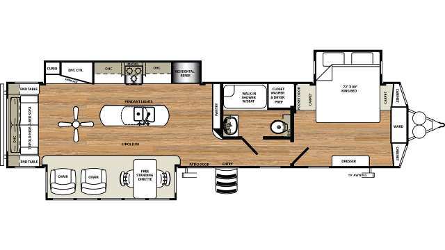 2020 Sandpiper Destination 393RL Floor Plan