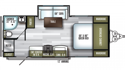 2020 SolAire Ultra Lite 205SS Floor Plan Img