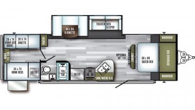 2020 SolAire Ultra Lite 292QBSK Floor Plan Img