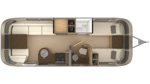 2020 Airstream Flying Cloud 25FB TWIN Floor Plan