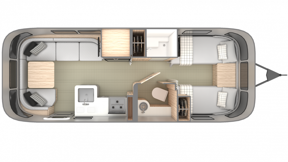 2019 Airstream Globetrotter 25FB Twin Floor Plan Img