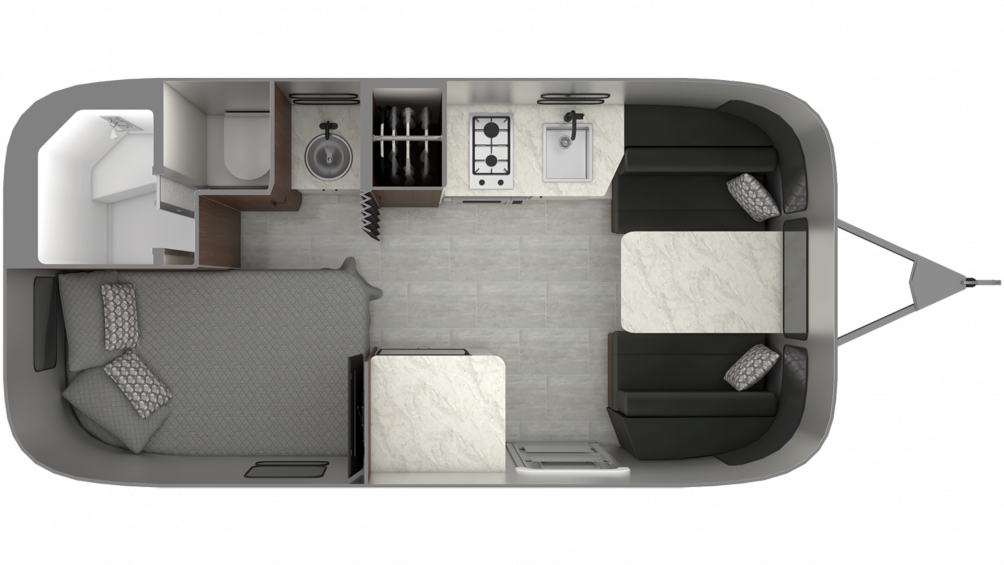 Airstream Caravel 19CB Floor Plan - 2020