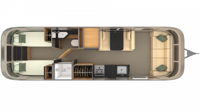 2019 Airstream Classic 30 TWIN Floor Plan Img