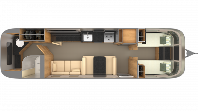 Airstream Classic 33 TWIN Floor Plan - 2020