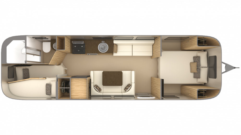 Airstream Flying Cloud 30FB BUNK Floor Plan - 2020