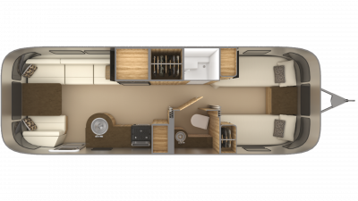2019 Airstream Flying Cloud 27FB TWIN Floor Plan Img