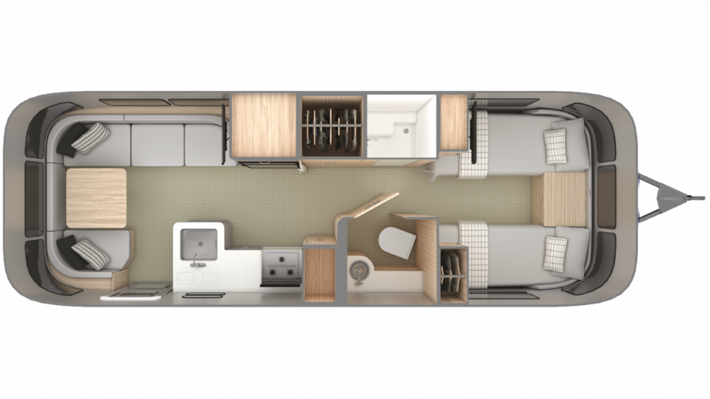 2019 Airstream Globetrotter 27FB Twin Floor Plan Img