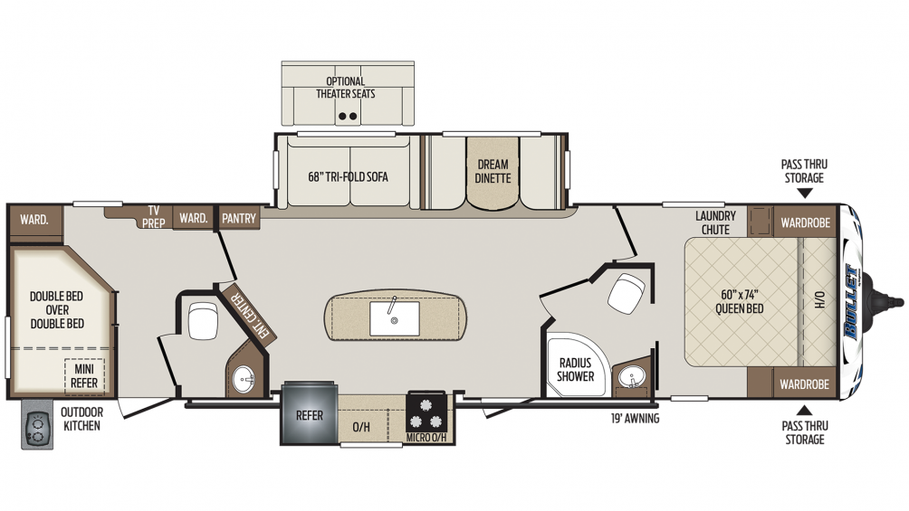 Bullet 330BHS Floor Plan - 2020