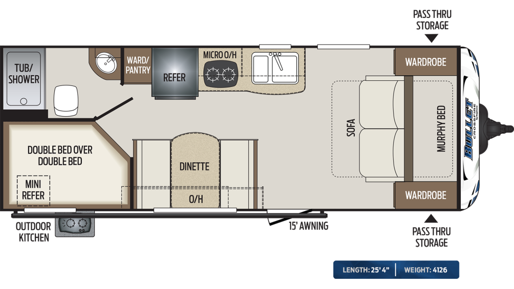 Bullet Crossfire 2200BH Floor Plan - 2020