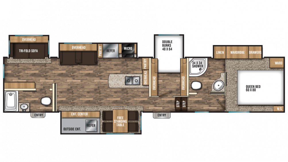 2018 Chaparral 373MBRB Floor Plan Img