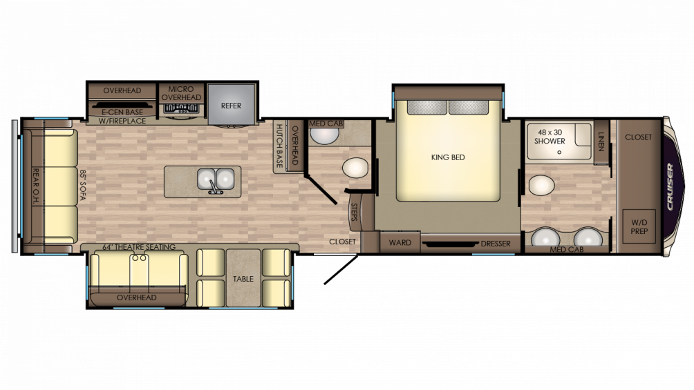 2018 Cruiser 3451FB Floor Plan Img