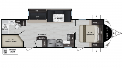 2019 Kodiak Ultimate 288BHSL Floor Plan Img