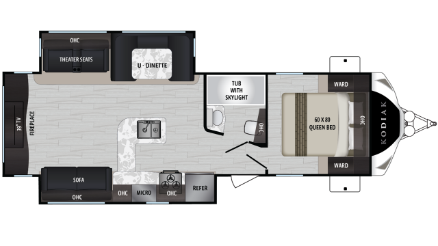2019 Kodiak Ultimate 291RESL Floor Plan Img