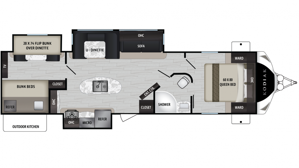 2019 Kodiak Ultimate 330BHSL Floor Plan Img