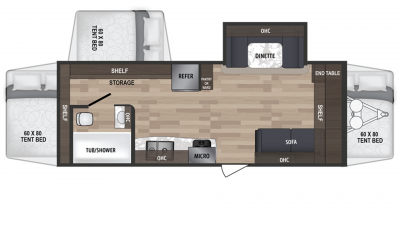 2019 Kodiak Ultra Lite 222ES Floor Plan Img