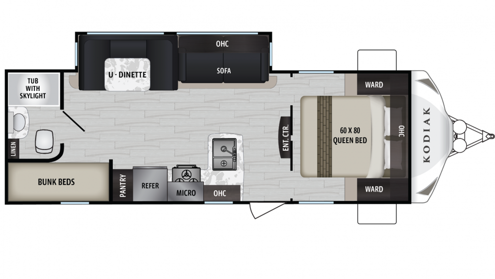 2019 Kodiak Ultra Lite 255BHSL Floor Plan Img