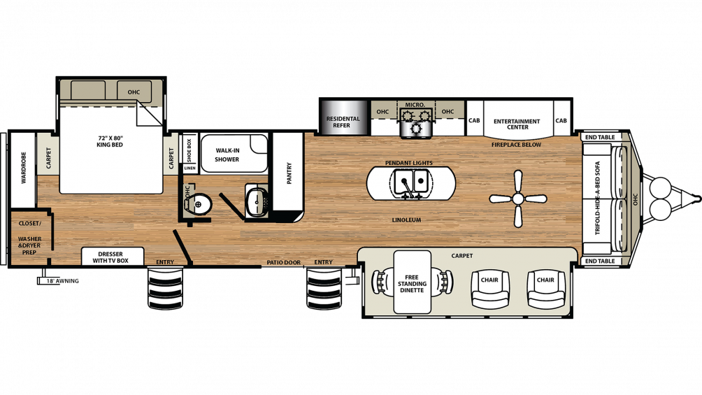2019 Sandpiper Destination 401FLX Floor Plan Img