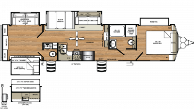 2019 Sandpiper Destination 404QBWD Floor Plan Img