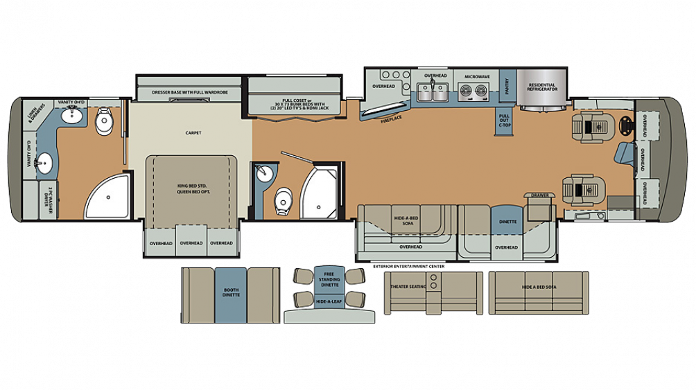 2019 Berkshire XLT 45A Floor Plan Img