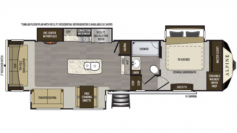 2019 Alpine 3400RS Floor Plan Img