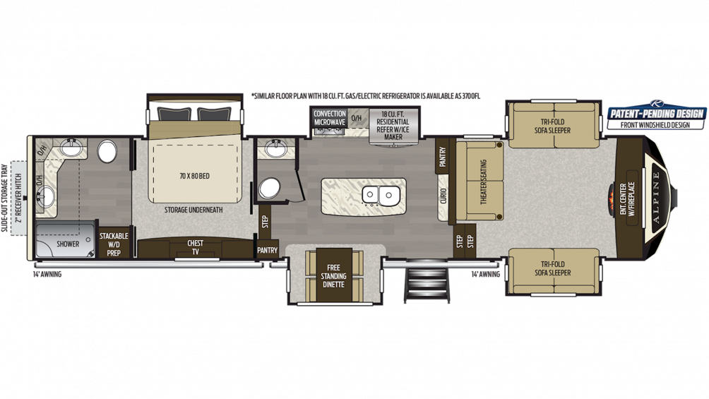 2019 Alpine 3701FL Floor Plan Img
