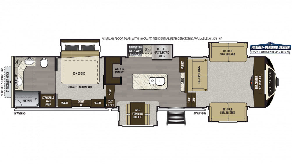 2019 Alpine 3710KP Floor Plan Img