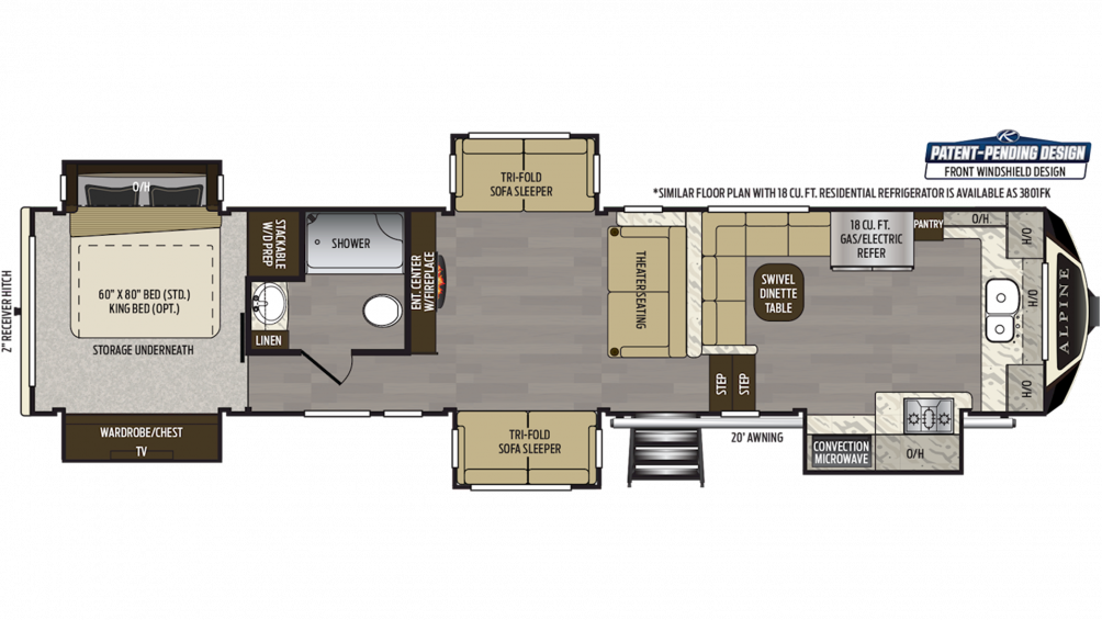 2019 Alpine 3800FK Floor Plan Img