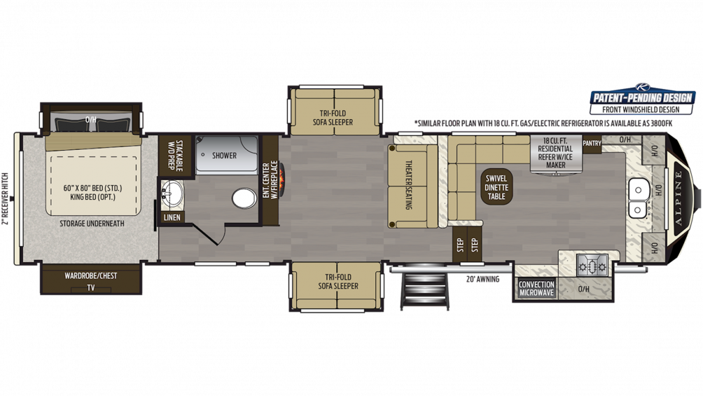 2019 Alpine 3801FK Floor Plan Img