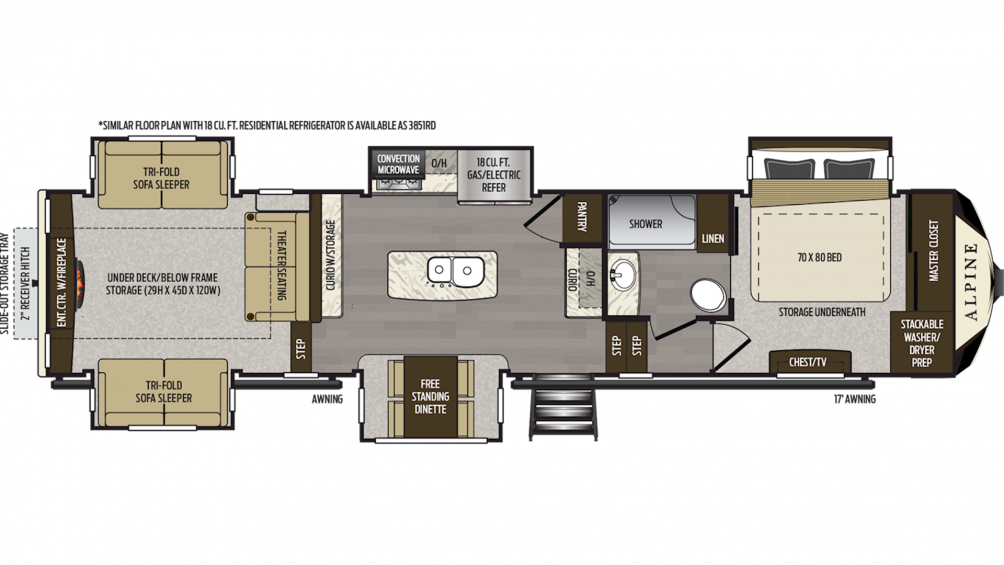 2019 Alpine 3850RD Floor Plan Img