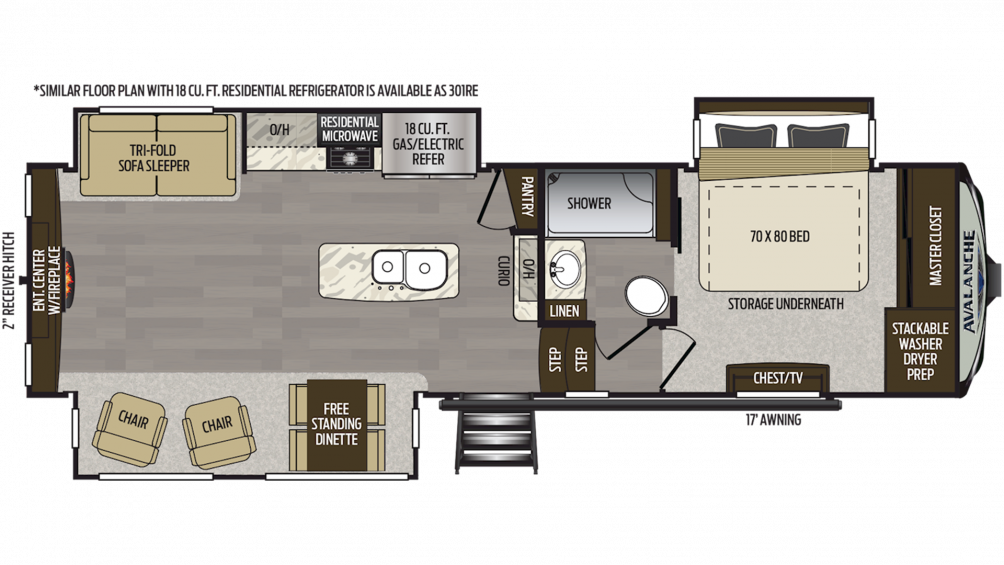 2019 Avalanche 300RE Floor Plan Img