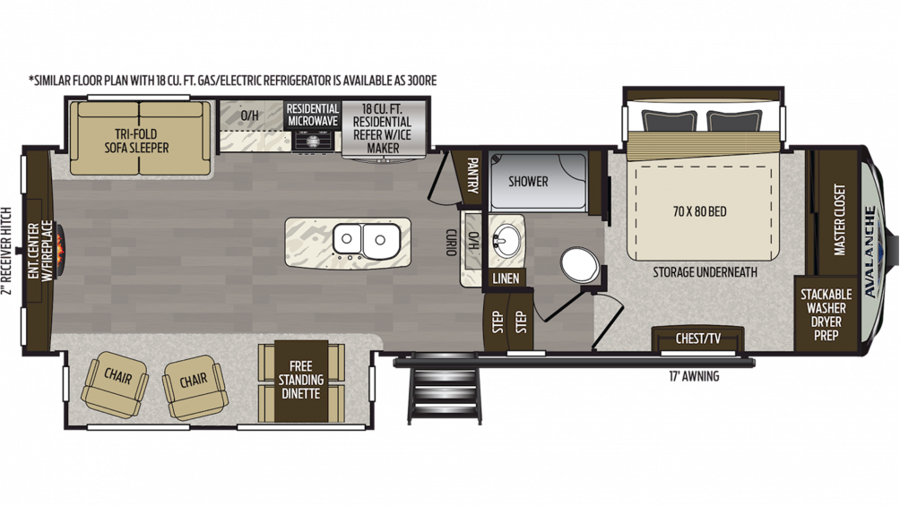 2019 Avalanche 301RE Floor Plan Img