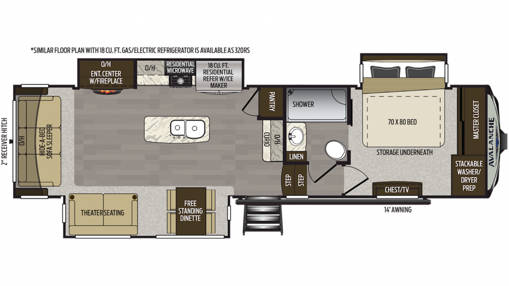2019 Avalanche 321RS Floor Plan Img