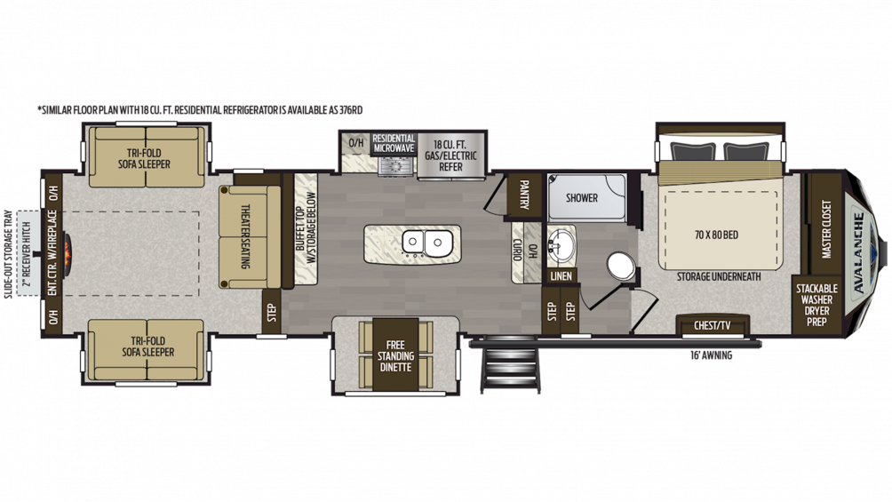 2019 Avalanche 375RD Floor Plan Img