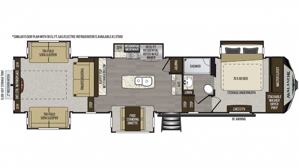 2019 Avalanche 376RD Floor Plan Img