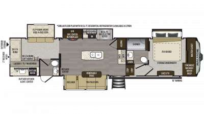 2019 Avalanche 378BH  Floor Plan Img