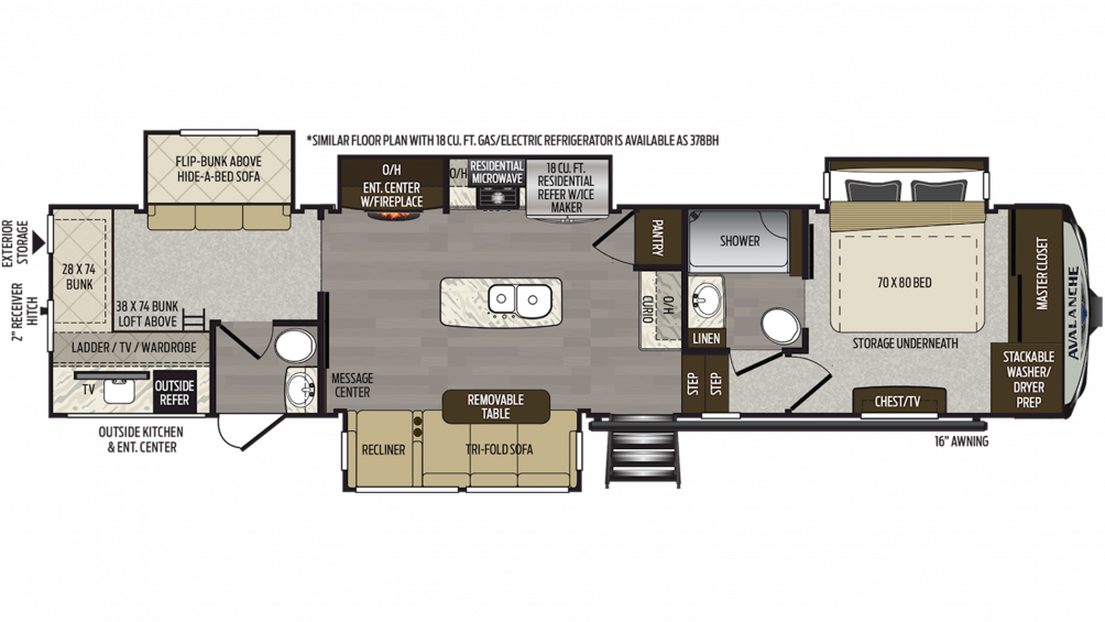 2019 Avalanche 379BH Floor Plan Img