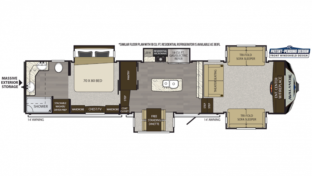 2019 Avalanche 382FL Floor Plan Img