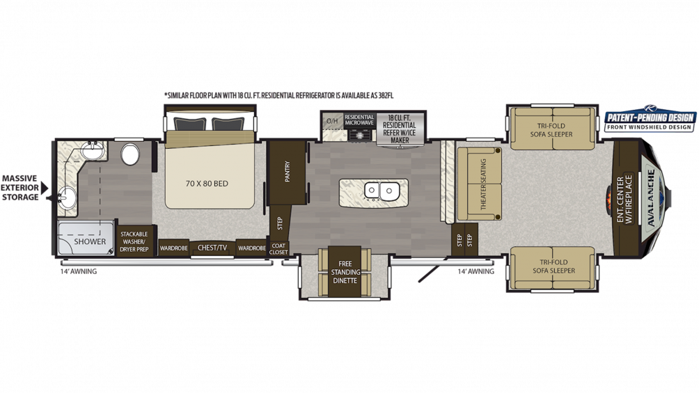 2019 Avalanche 383FL Floor Plan Img