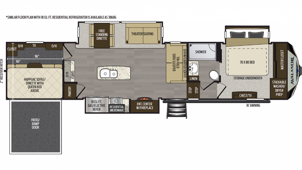 2019 Avalanche 385BG Floor Plan Img