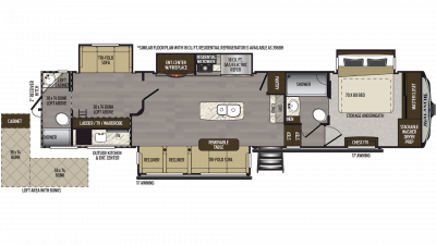 2019 Avalanche 395BH Floor Plan Img